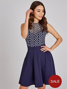 little-mistress-geo-crochet-top-skater-dress-navy