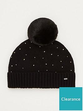 ted-baker-yselle-faux-fur-pom-branded-bobble-hat-black