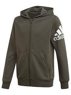 adidas-badge-of-sport-full-zip-hoodie-khaki