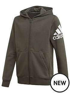 adidas-badge-of-sport-full-zip-hoodie-khaki