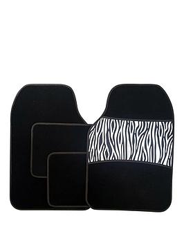 streetwize-accessories-4-piece-zebra-print-car-mat-set