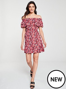 89558c5ab72f Oasis Amalfi Ditsy Floral Bardot Skater Dress - Multi Red