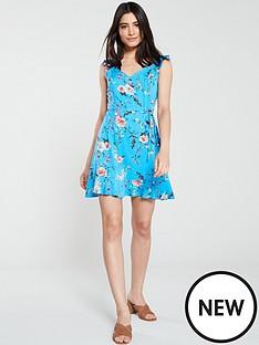 oasis-botanical-skater-dress-multi-blue