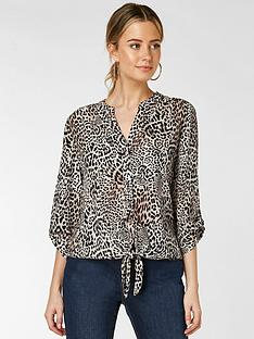 wallis-petite-animal-tie-front-shirt-stone