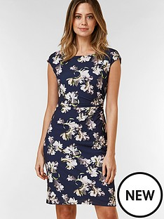 wallis-petite-floral-ruched-side-dress-navy