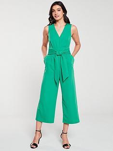 warehouse-v-neck-jumpsuit-green