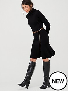 v-by-very-roll-neck-godet-hem-fit-and-flare-knitted-dress-blacknbsp