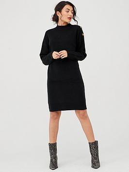 v-by-very-button-neck-detail-knitted-jumper-dress-blacknbsp