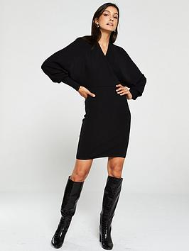 v-by-very-deep-v-ribbed-crossover-batwing-knitted-dress-black