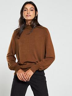 v-by-very-turtleneck-seam-detail-blouson-sleeve-jumper-tan