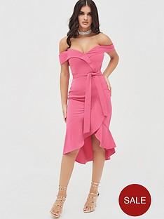 lavish-alice-bardot-ruffle-dress-hot-pink