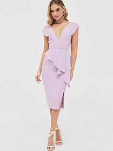 lavish-alice-deep-plunge-peplum-midi-dress-lilacnbsp