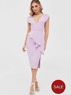 lavish-alice-deep-plunge-peplum-midi-dress-lilacnbsp