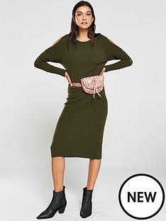 v-by-very-popper-sleeve-knitted-midi-dress-dark-olive