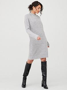 v-by-very-button-neck-detail-knitted-jumper-dress-grey-marl