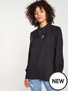 v-by-very-embroidered-pussybow-blouse-black