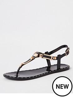 bc2e301d1 River Island Stud Jelly Sandals - Black