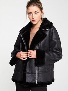 whistles-faux-fur-aviator-jacket-black
