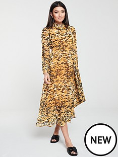 whistles-dip-hem-animal-printnbspdress-yellow
