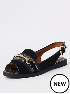 a02025a5bf1 River Island River Island Slingback Snake Detail Sandals - Black