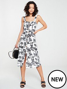 d4e41467e7 River Island River Island Printed Button Through Midi Dress- Navy