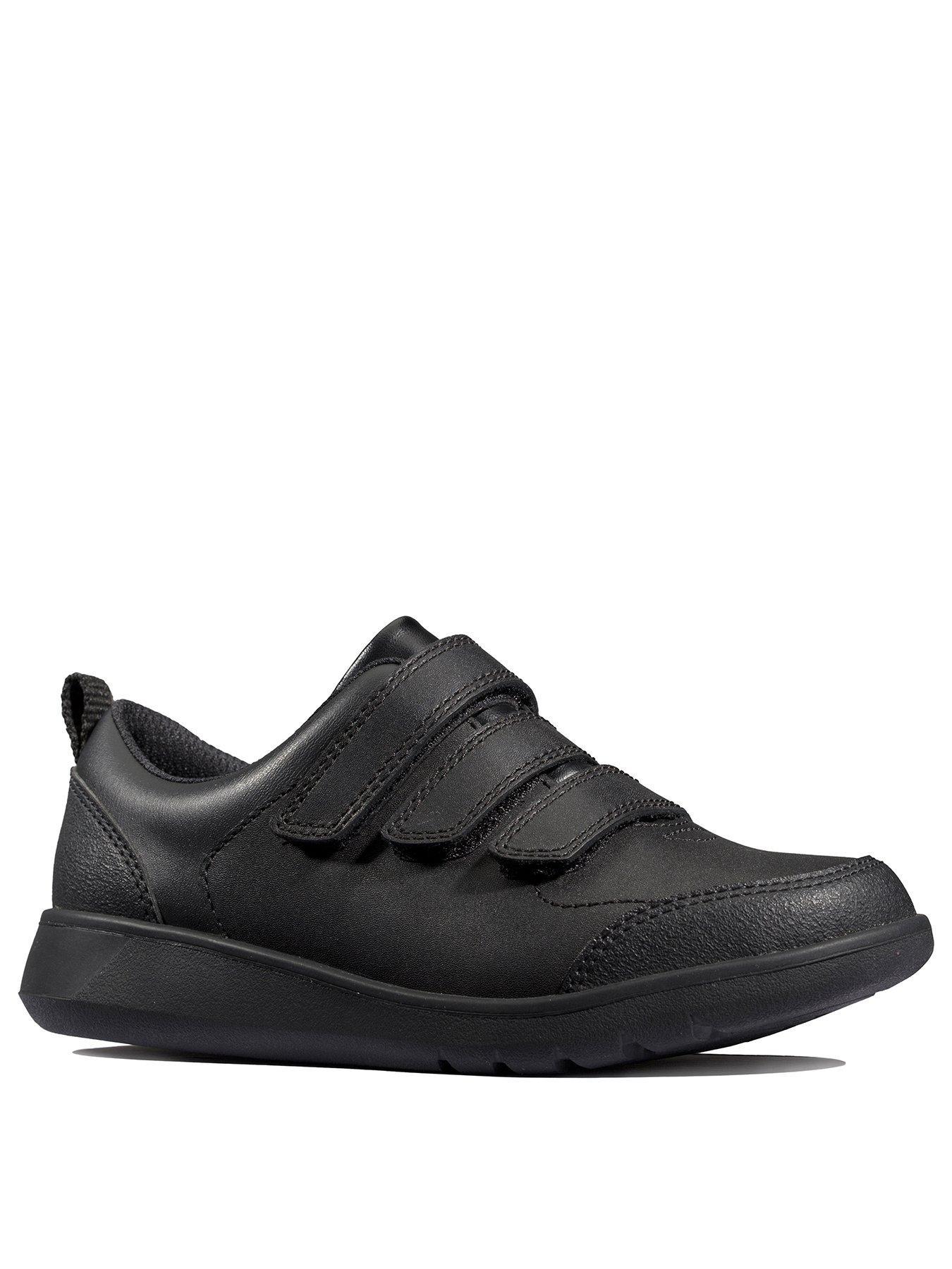 Boys Clarks Blake Street Black Leather Double Strap School Shoes