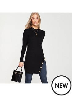 v-by-very-button-side-ribbed-longline-jumper-black