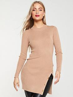 v-by-very-button-side-ribbed-longline-jumper-camel