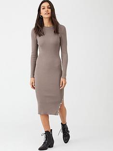 v-by-very-popper-hem-rib-knit-midi-dress-mocca