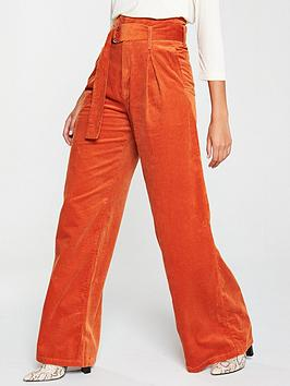 v-by-very-high-waist-wide-leg-belted-cord-trouser-rust