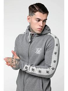 sik-silk-inset-panel-zip-through-hoodie-grey