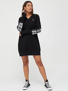 fred-perry-crew-neck-jumper-dress-black