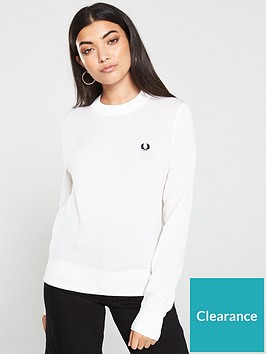fred-perry-ribbed-crew-neck-jumper-white