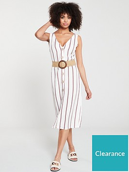 river-island-river-island-stripe-button-detail-dress--white