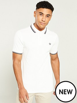 7fca2d390fbd Fred Perry Twin Tipped Polo Shirt - White | littlewoodsireland.ie