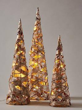 rattan-effect-lit-cone-christmas-room-decorations