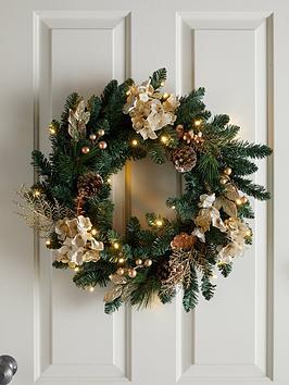 pre-lit-hydrangea-christmas-wreath-in-gold