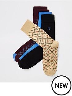 river-island-monogram-geo-5pack-socks