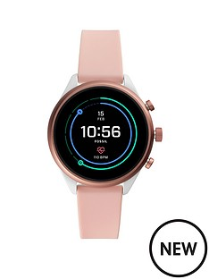 9b41cf7a9904 Fossil Fossil Full Colour Display Rose Gold Aluminium 41mm Dial Blush  Silicone Strap Smart Watch