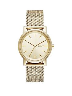 dkny-dkny-pale-gold-dial-pale-gold-logo-stainless-steel-mesh-strap-ladies-watch
