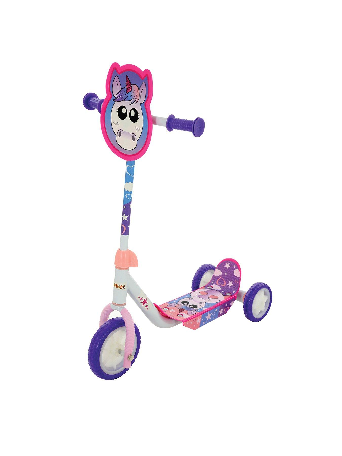 Kids Children Pink Unicorn 3 Wheel Scooter Magical Ride Moulded Foot Deck
