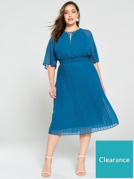 junarose-curve-muzz-24-sleeves-midi-dress-blue