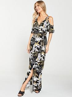 v-by-very-tropical-print-cold-shoulder-dress-black