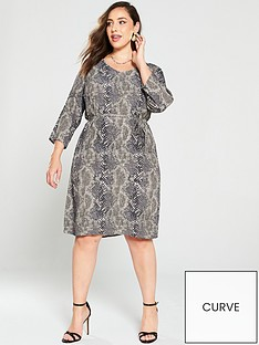 junarose-curve-alinakeenan-snake-print-dress-with-tie-grey