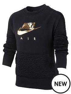 nike-air-sportswear-girls-fleece-crew-sweat-top-blackgold
