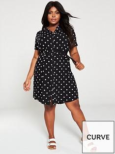 junarose-tracy-polka-dot-printed-shirt-dress-black