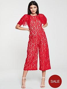 u-collection-forever-unique-cape-sleeve-lace-jumpsuit-red