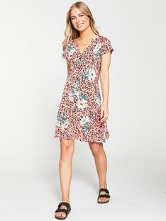 v-by-very-floral-button-front-tea-dress-pink