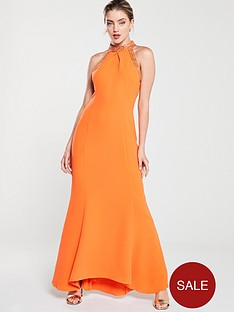 karen-millen-chain-detail-maxi-dress-orange
