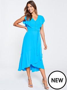 karen-millen-karen-millen-fluid-draped-burron-front-midi-dress